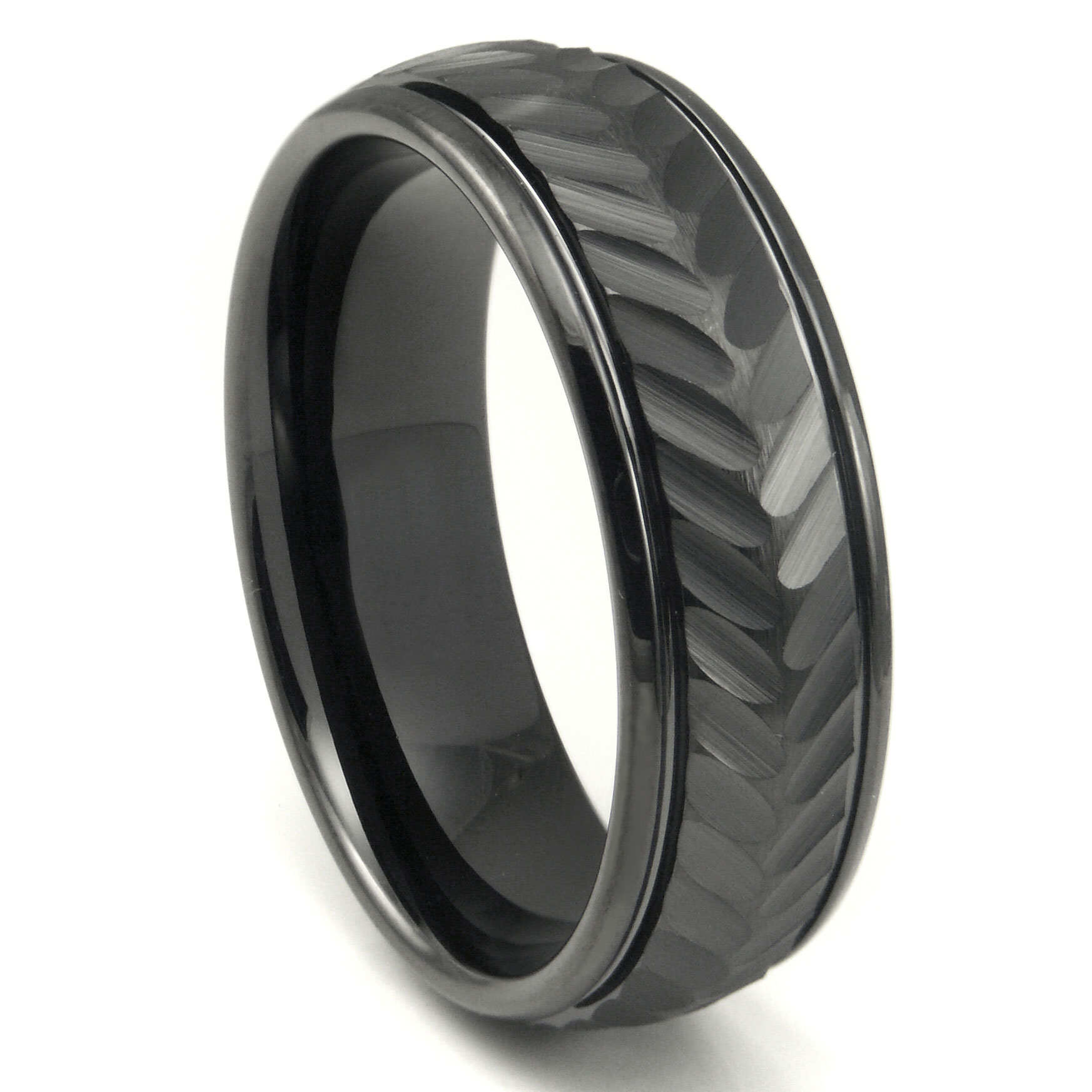 band wedding laser carbide black celtic engraved tungsten cross dome rings ring