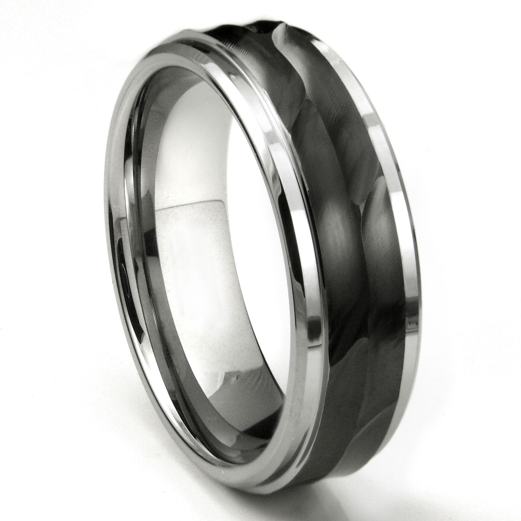 tungsten carbide 8mm wave finish wedding band ring. Black Bedroom Furniture Sets. Home Design Ideas