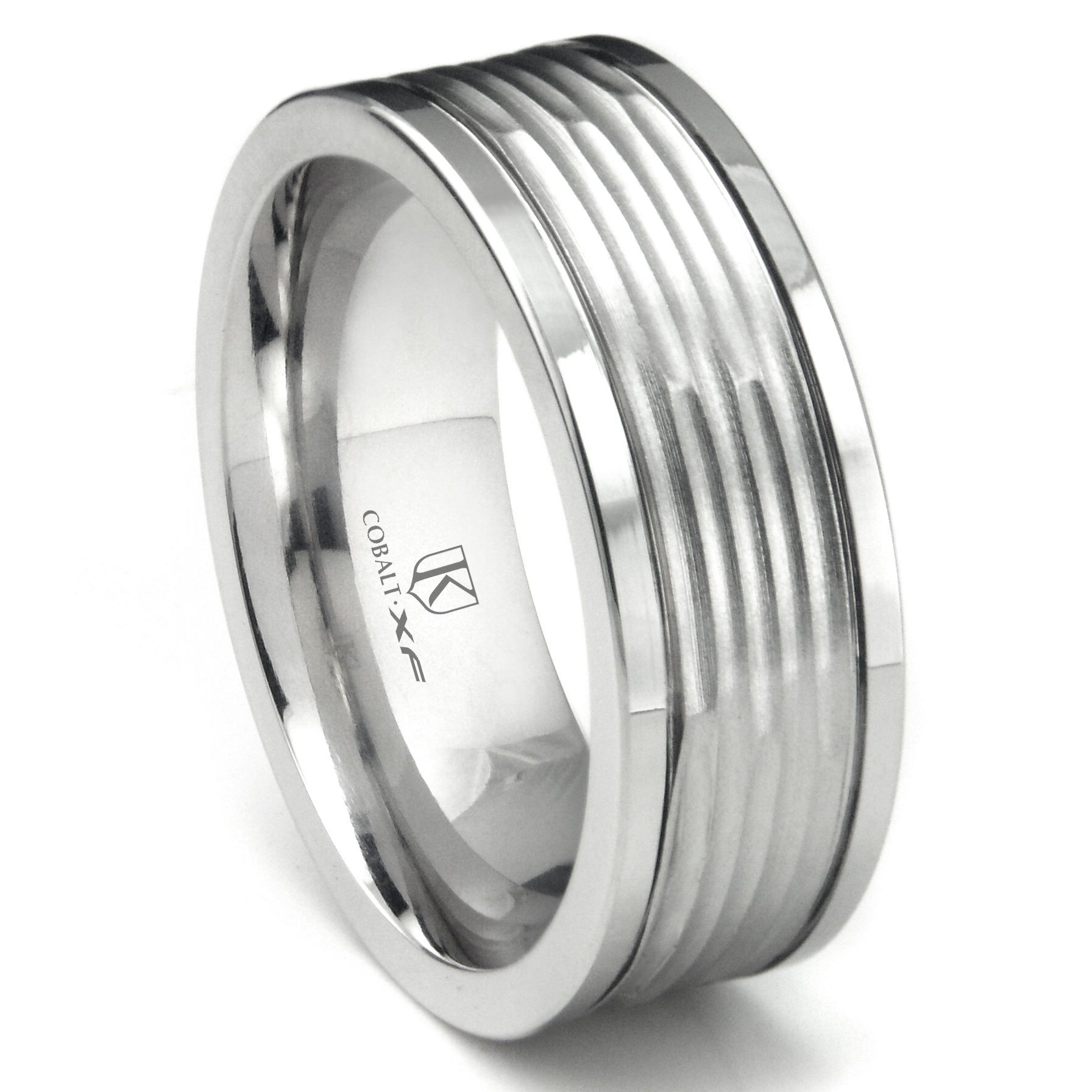 Cobalt XF Chrome 9MM Hammer Finish Wedding Band Ring