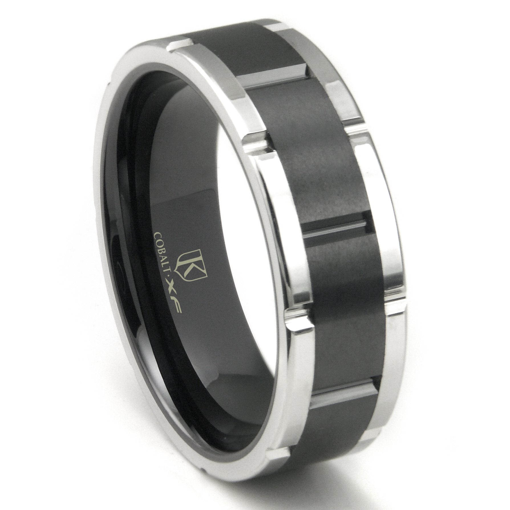 Cobalt XF Chrome 8MM TwoTone Matte Finish Center Wedding Band Ring