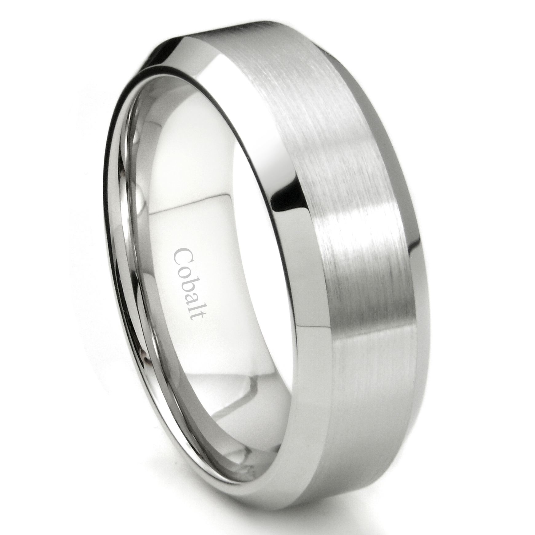 Cobalt XF Chrome 8MM Brush Finish Bevel Edge Wedding Band Ring