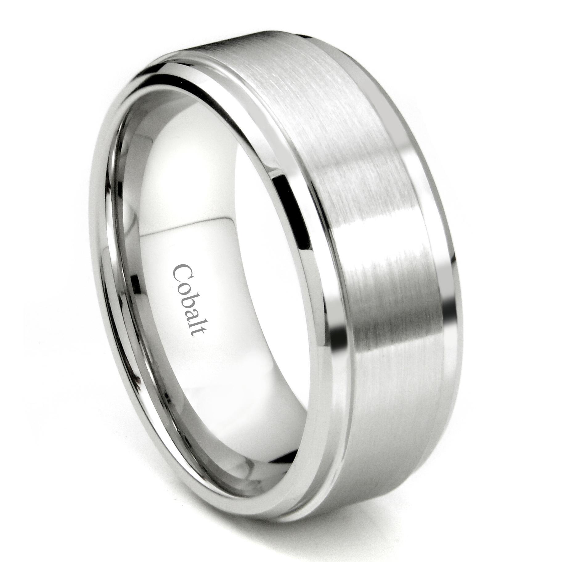 Cobalt XF Chrome 9MM Brush Center Wedding Band Ring
