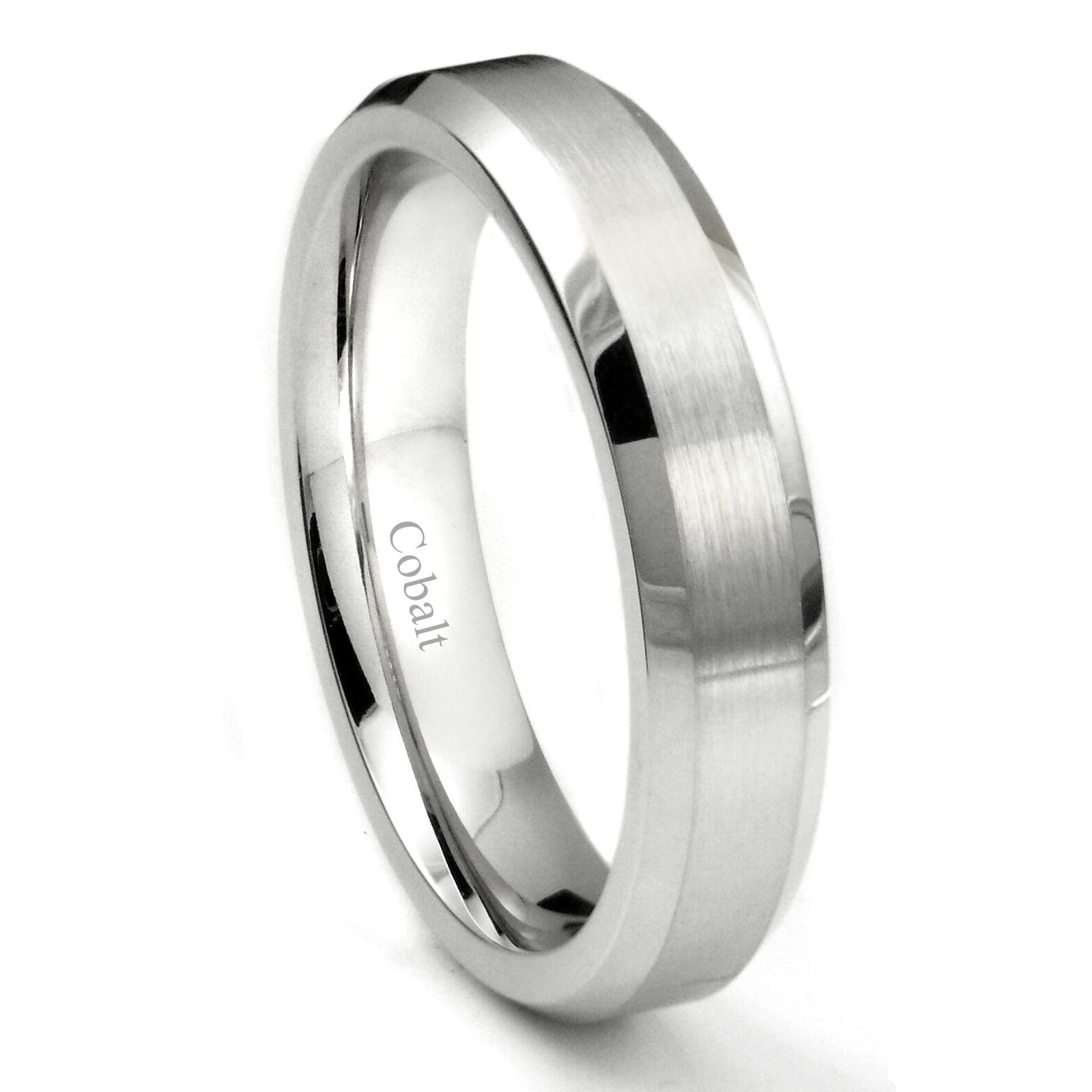 Cobalt XF Chrome 5MM Brush Center Wedding Band Ring W Beveled Edges