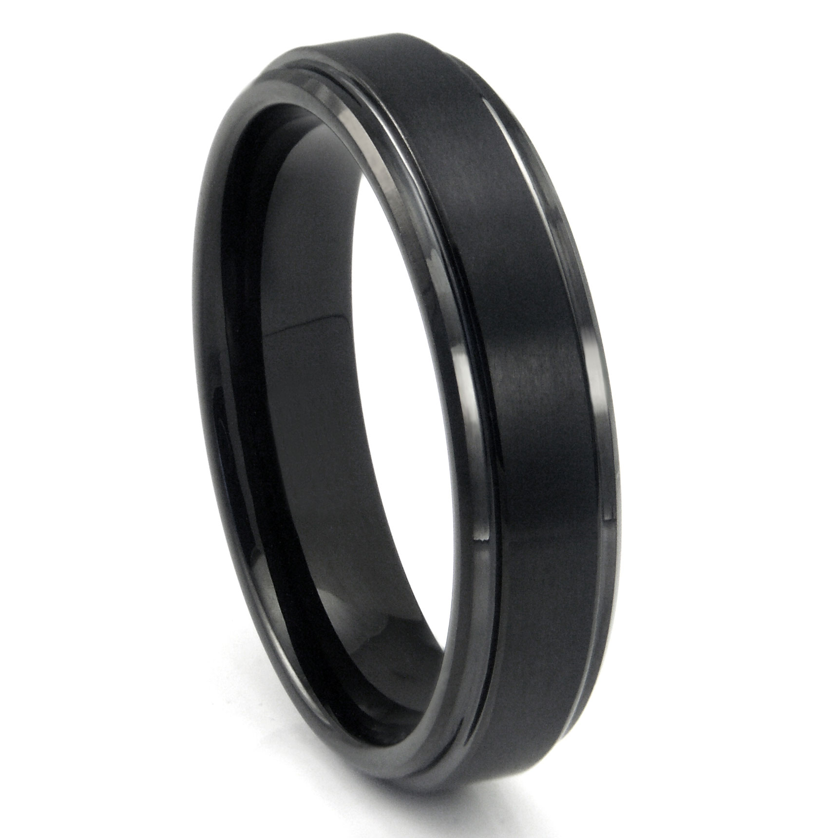 black tungsten carbide wedding band ring w raised center. Black Bedroom Furniture Sets. Home Design Ideas