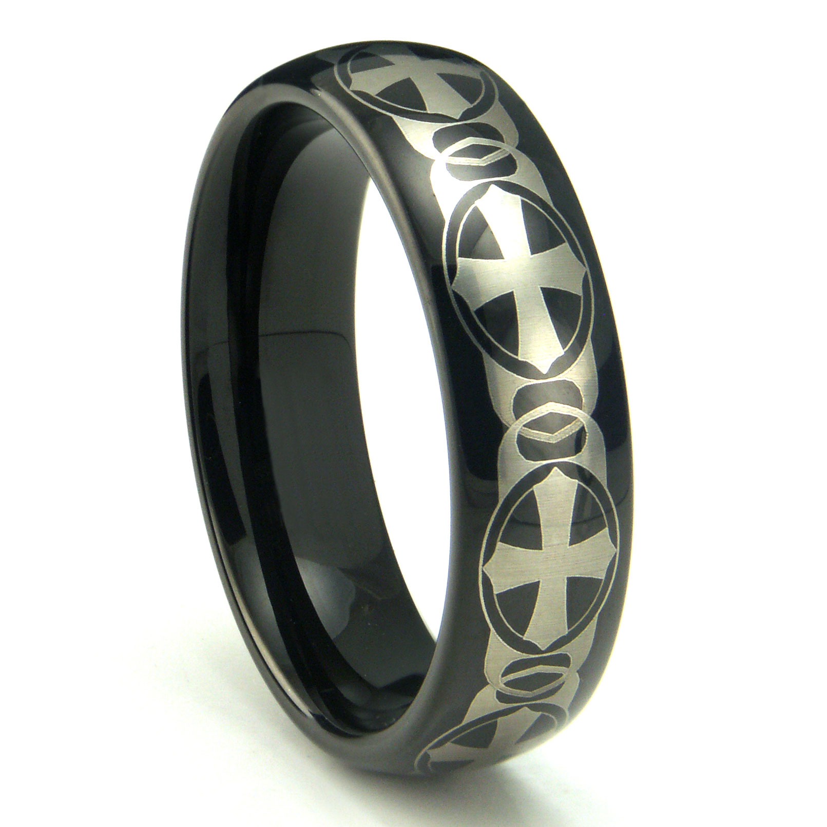 Black Tungsten Carbide Laser Engraved Celtic Cross Dome Wedding Band