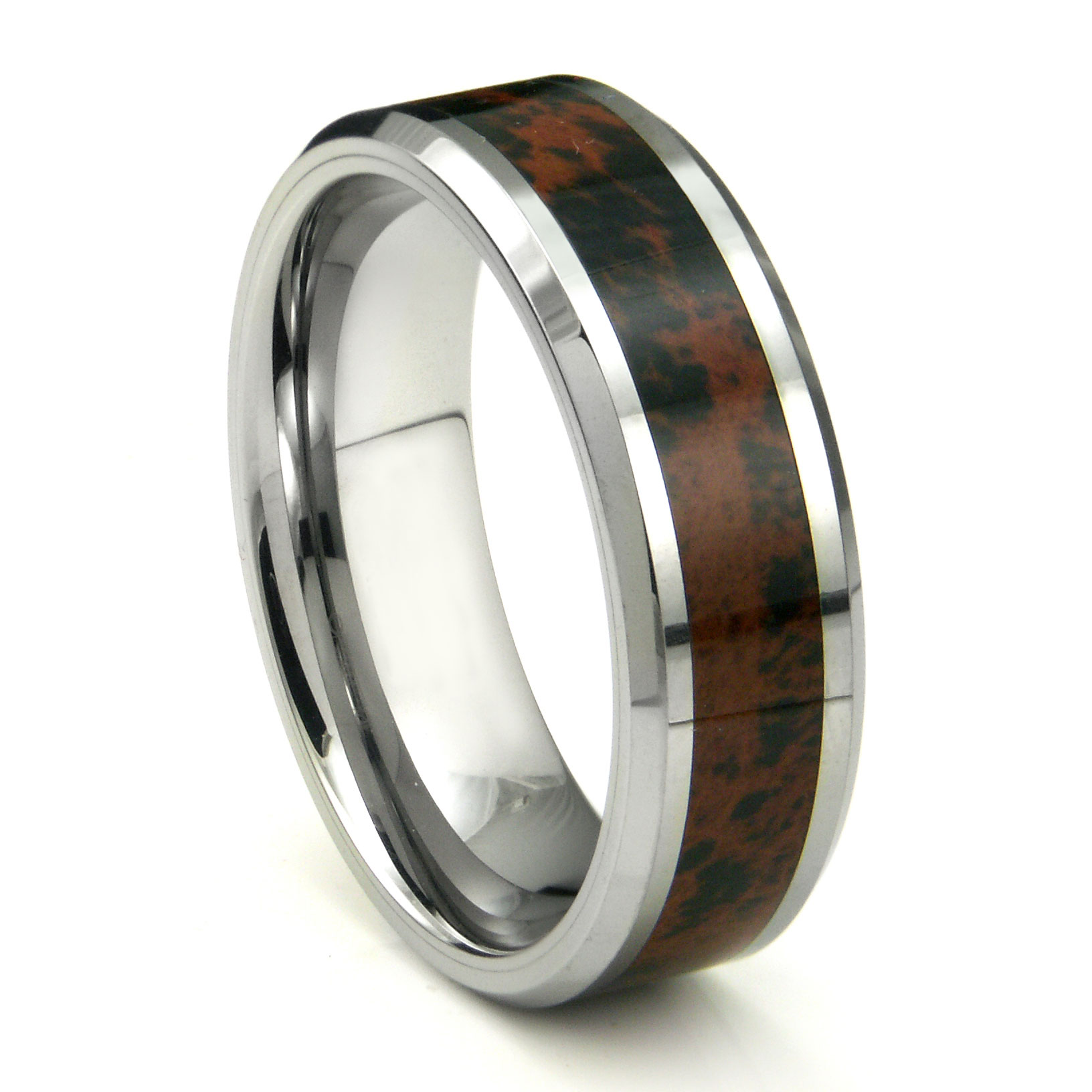 tungsten carbide crimson riverstone inlay wedding band ring