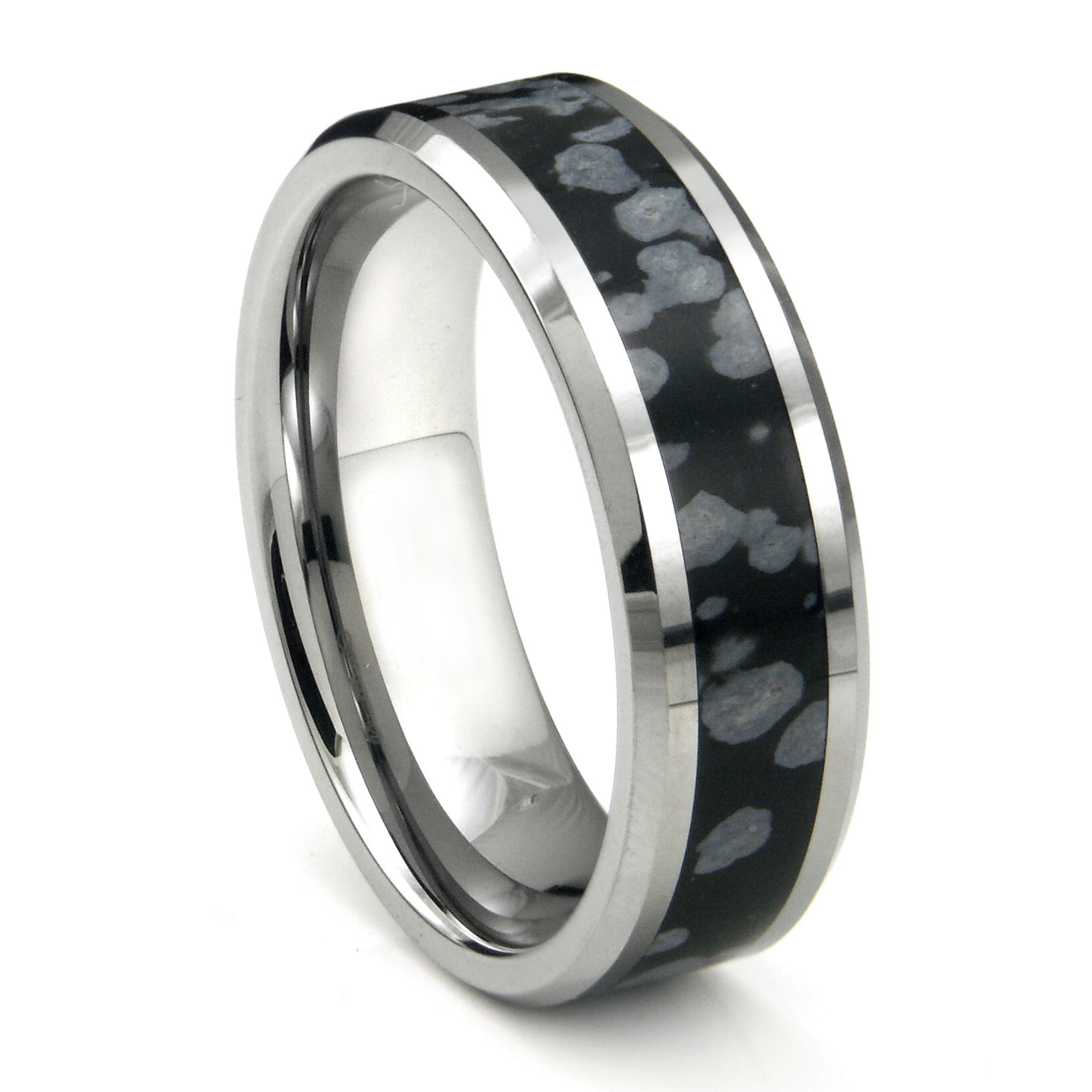 tungsten carbide cosmic riverstone inlay wedding band ring. Black Bedroom Furniture Sets. Home Design Ideas