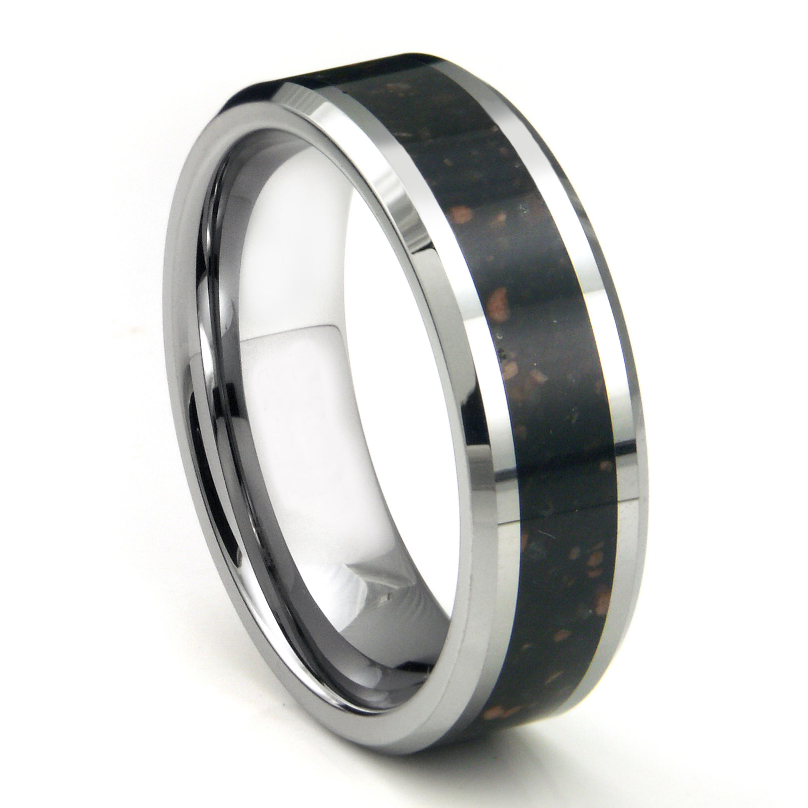 ring hammer loading zoom band wedding newport carbide rings black tungsten finish