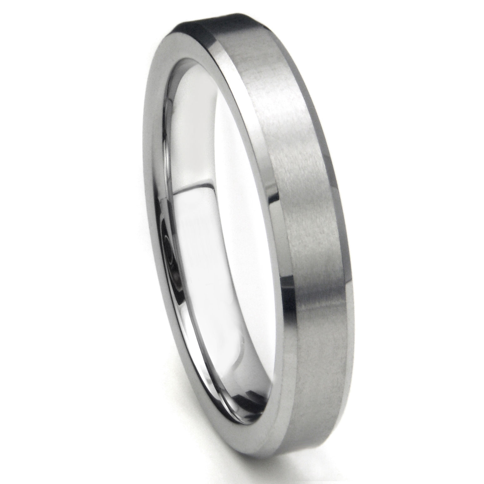 tungsten carbide 5mm beveled wedding band w/ brushed center