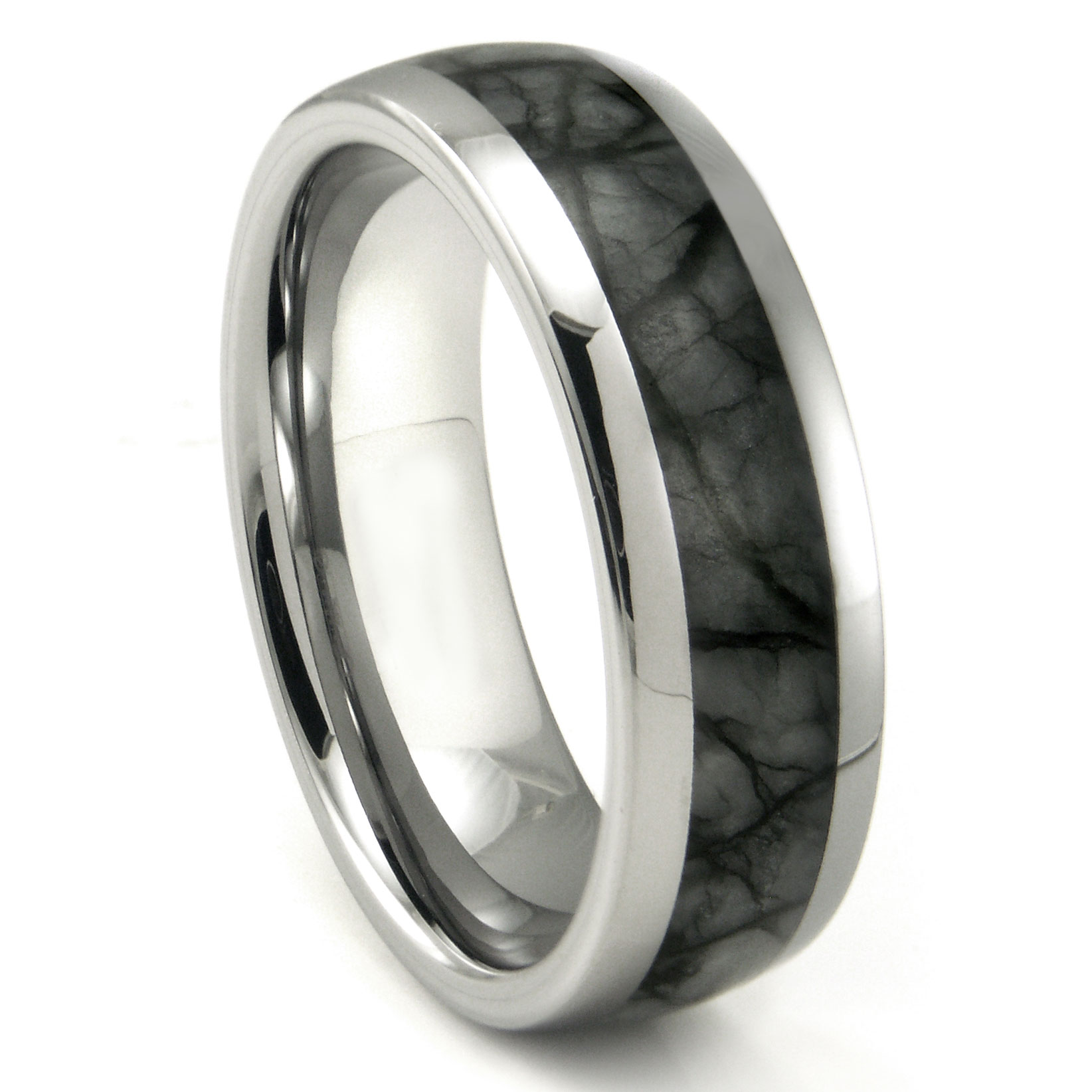 black gray grey rings and her bands zirconium set titanium his wedding matching