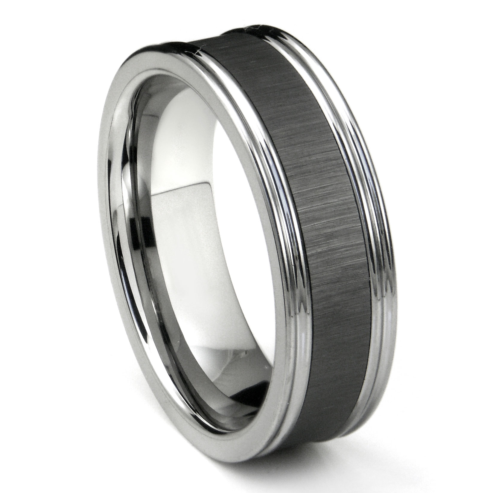 on band black bands stunning raised wedding engagement with handwork me carbide ring tungsten center lovely w rings within