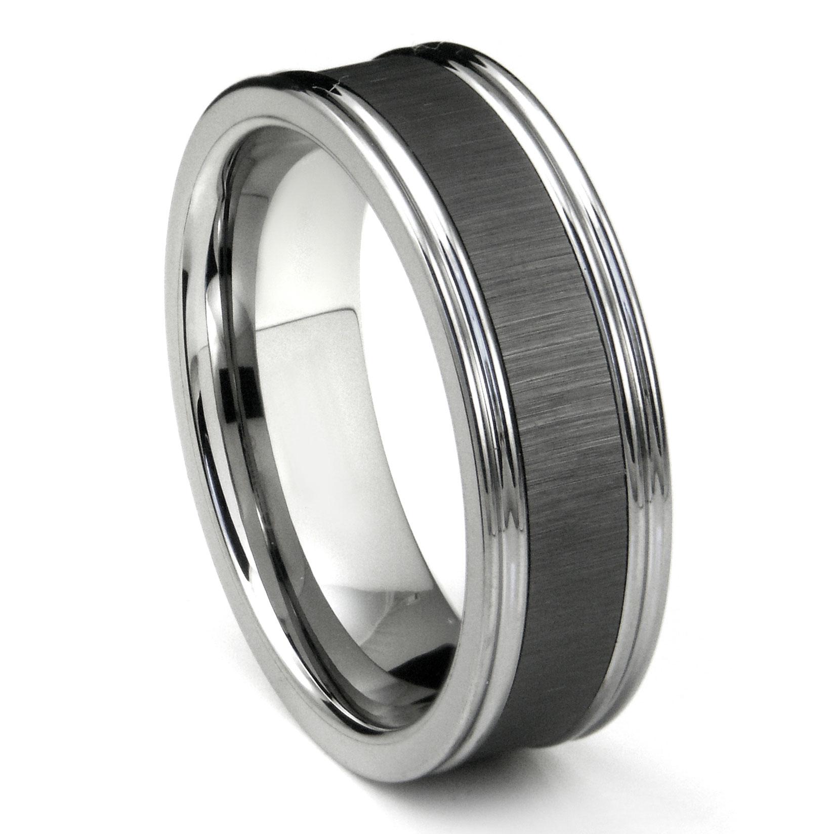 tungsten carbide black ceramic inlay wedding band ring w