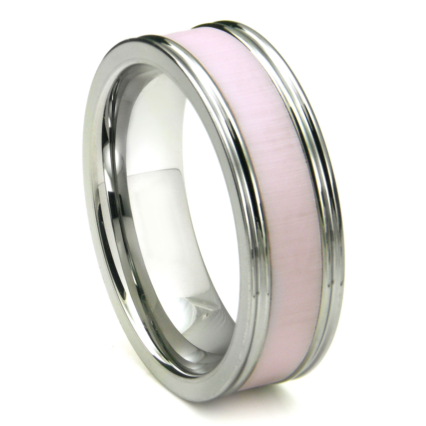 Loading zoomTungsten Carbide Pink Ceramic Inlay Wedding Band Ring w  . Inlay Wedding Bands. Home Design Ideas