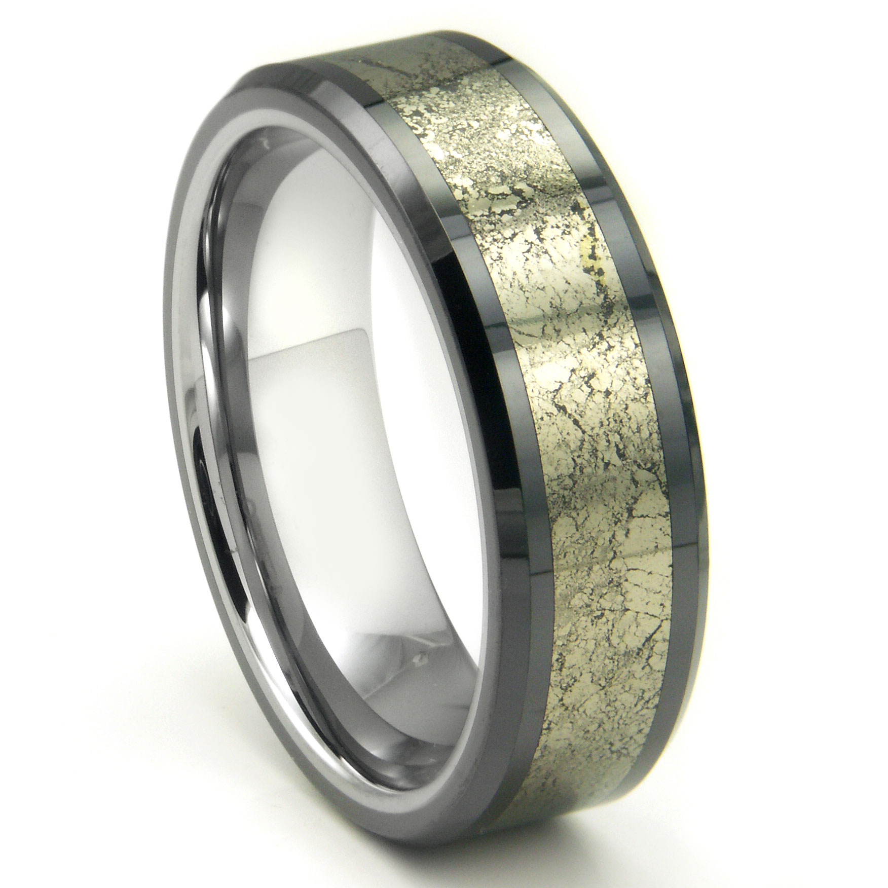 Tungsten carbide golden meteorite inlay wedding band ring for Wedding rings and bands