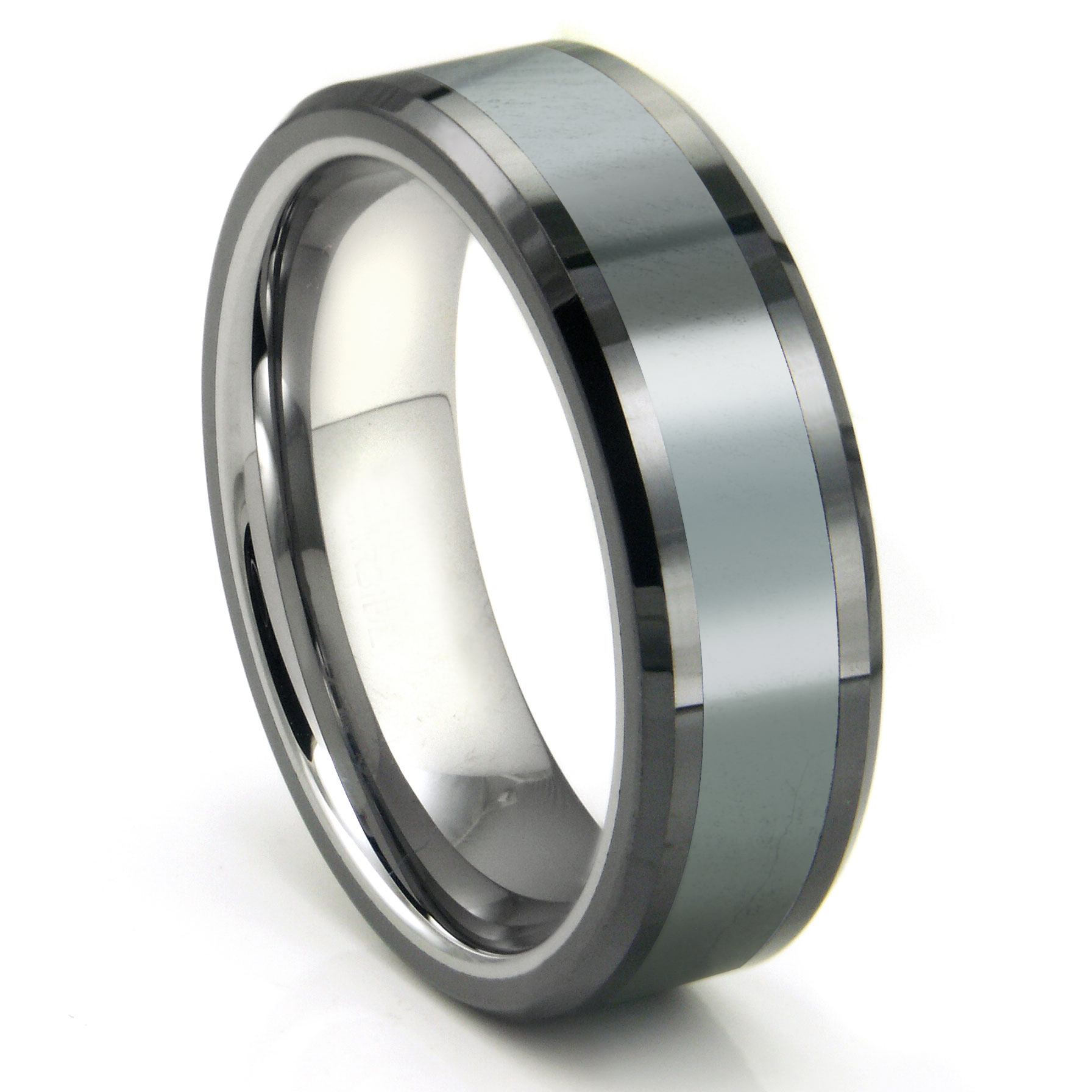 tungsten carbide grey meteorite inlay wedding band ring