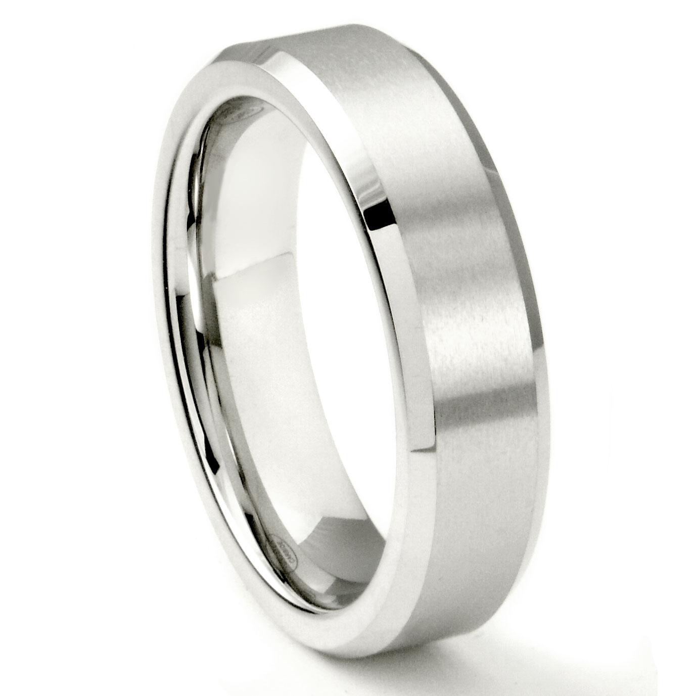 luxury image of white tungsten wedding bands