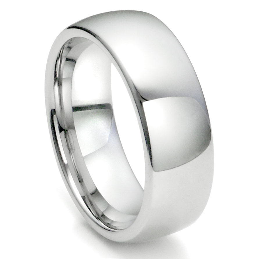 white tungsten carbide 8mm plain dome wedding ring