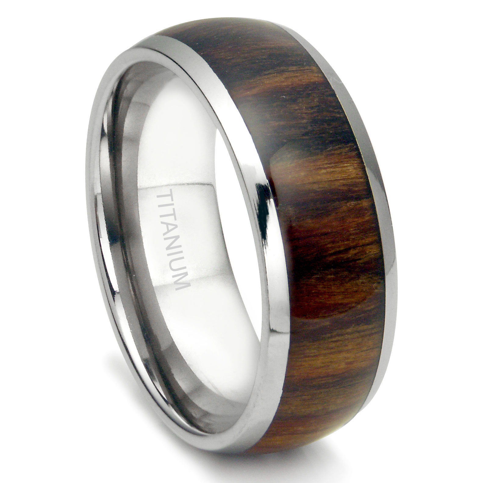 Titanium 8mm Domed Santos Rosewood Inlay Wedding Band Ring