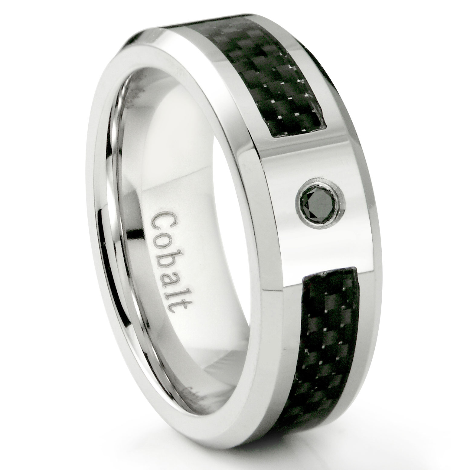 tungsten diamond rings carbide comfort bevel band beckers fit carbon wedding edge with fiber jewelers black inlay