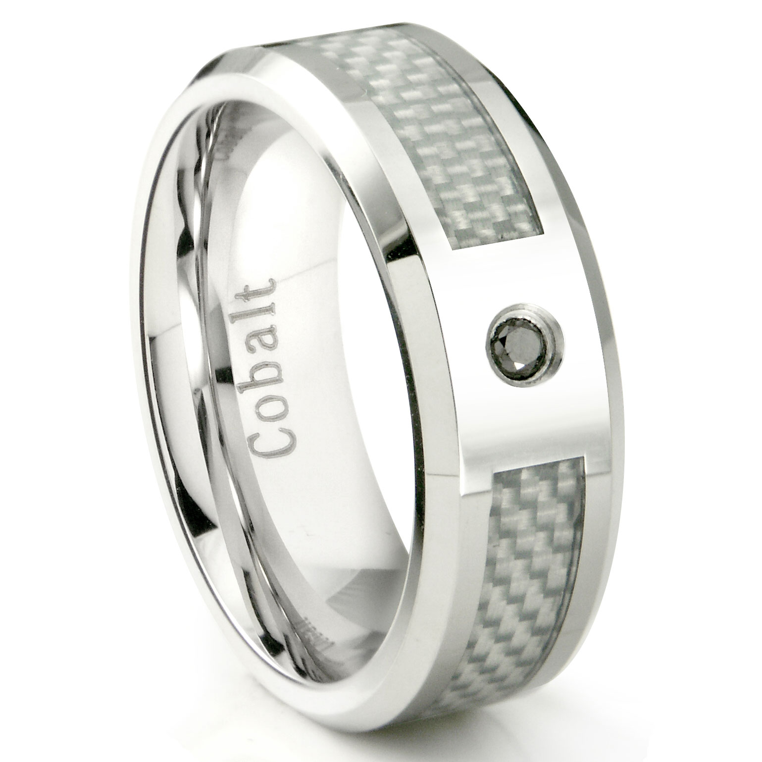 black chrome band fiber home carbon inlay rings wedding diamond cobalt ring zoom loading
