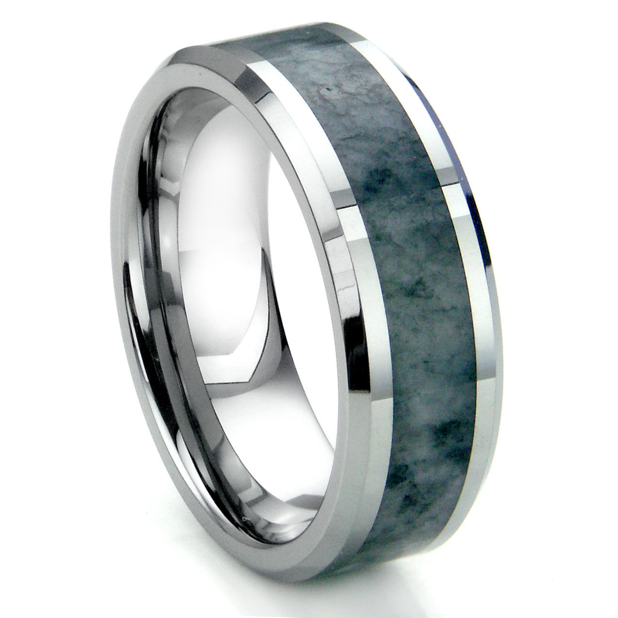 tungsten carbide grey metamorphic inlay beveled