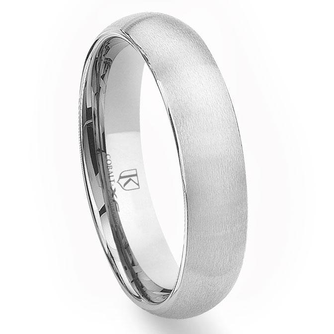 Cobalt XF Chrome 6MM Plain Brush Finish Dome Wedding Band Ring