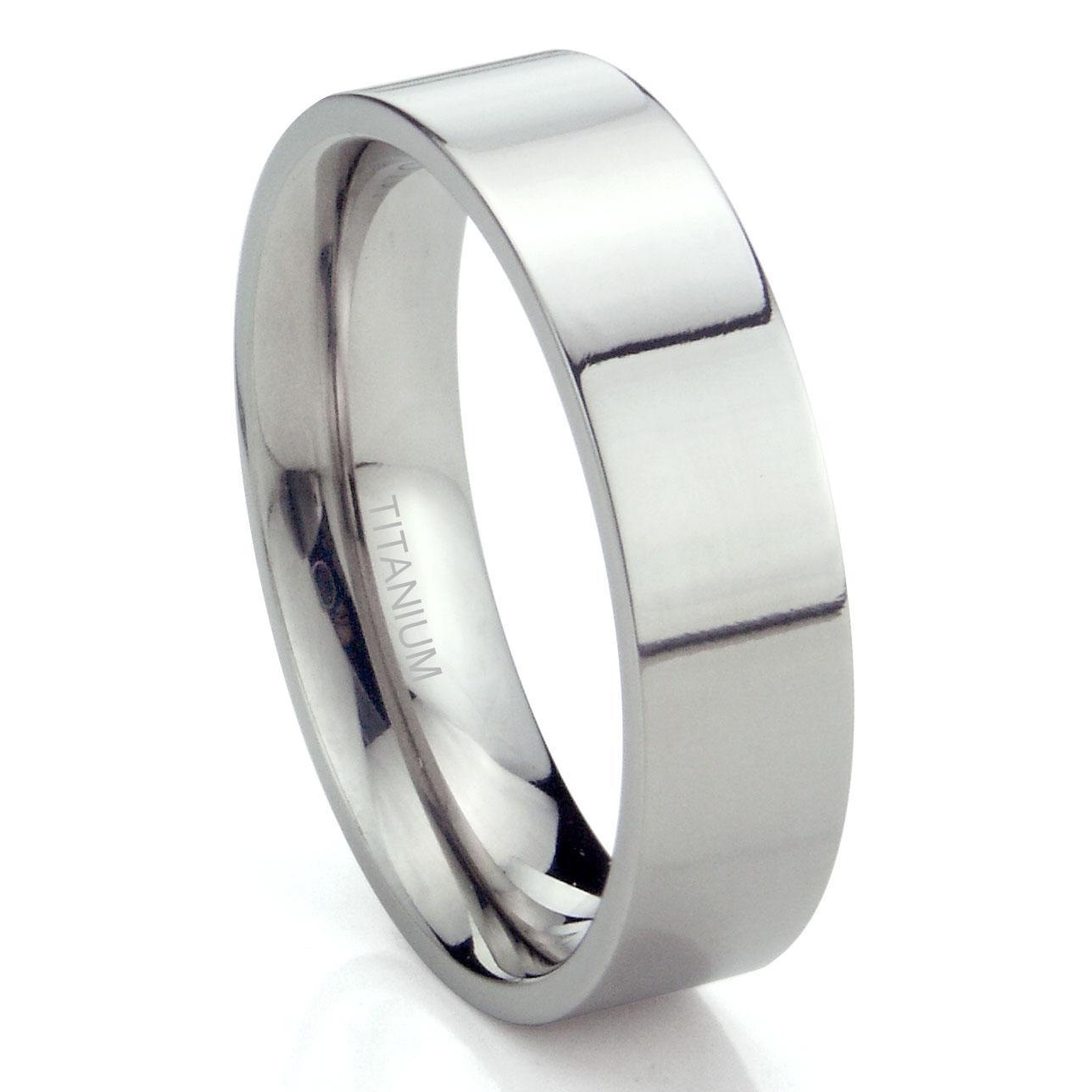Titanium 6mm High Polish Flat Wedding Band Ring