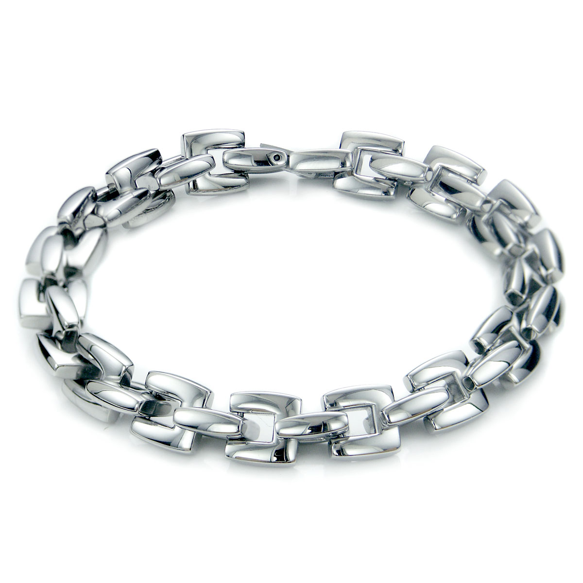 Stainless Steel Men's Large Box Link Bracelet