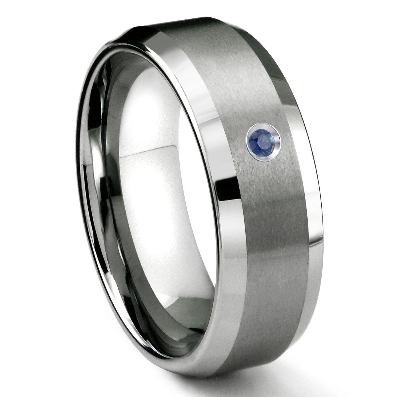 Tungsten Carbide 8mm Satin Finish Beveled Sapphire