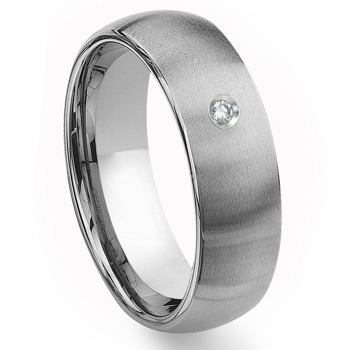 Tungsten Carbide 8mm Brushed Dome Diamond Mens Wedding Band Ring