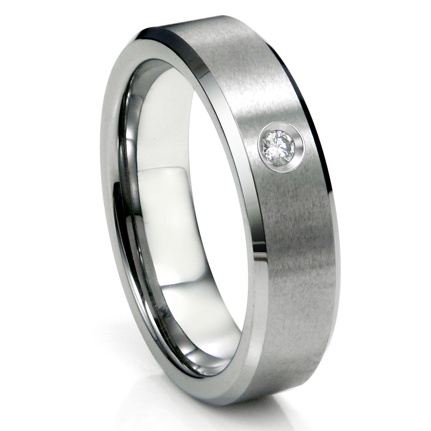 tungsten carbide diamond satin finish beveled men's wedding ring