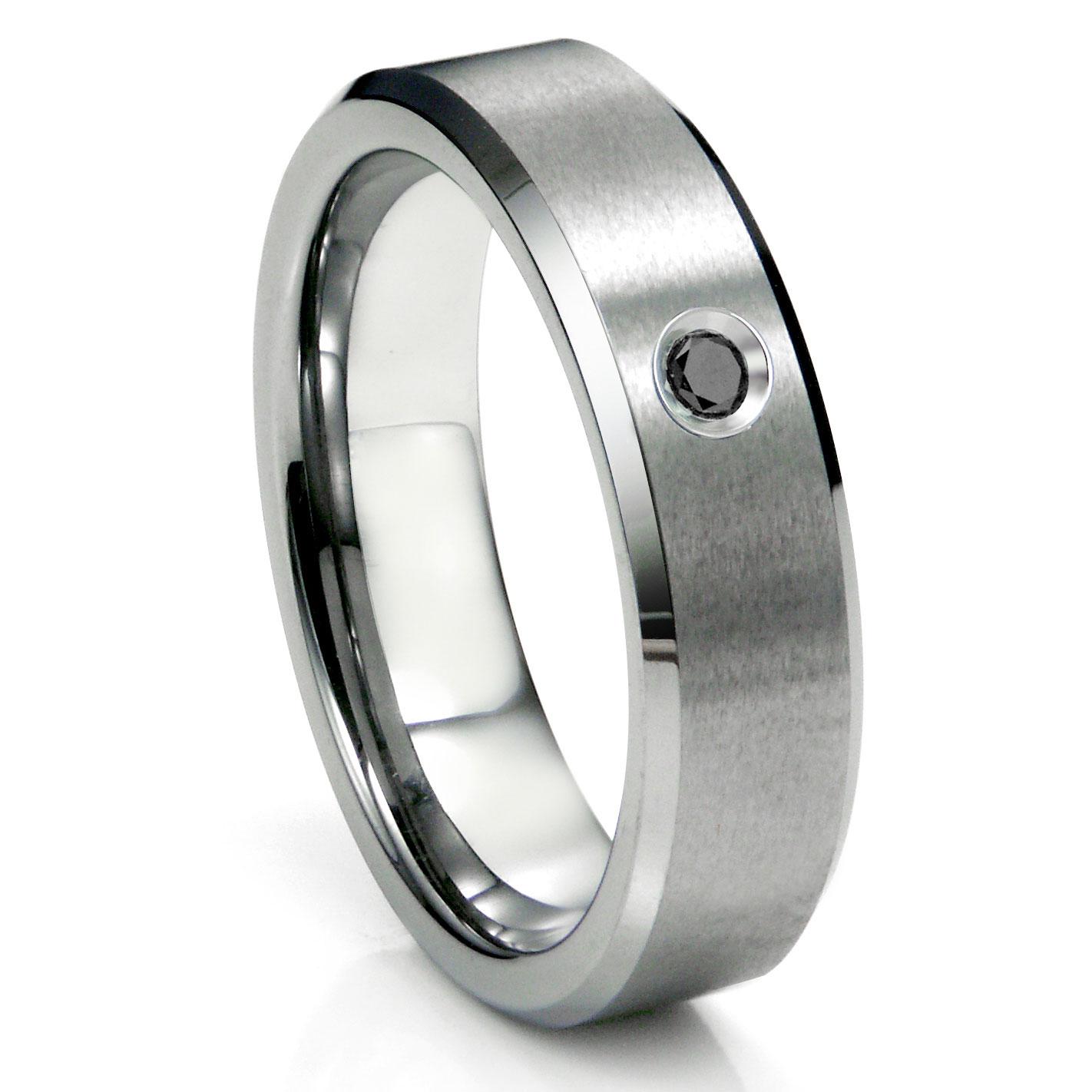 tungsten carbide black diamond satin finish beveled men 39 s wedding ring. Black Bedroom Furniture Sets. Home Design Ideas