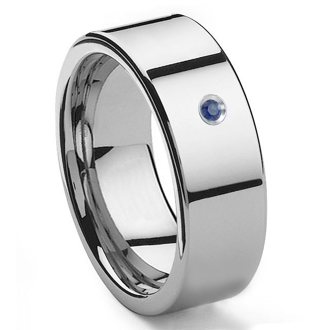 Tungsten Carbide Sapphire 10MM Flat Mens Wedding Band Ring