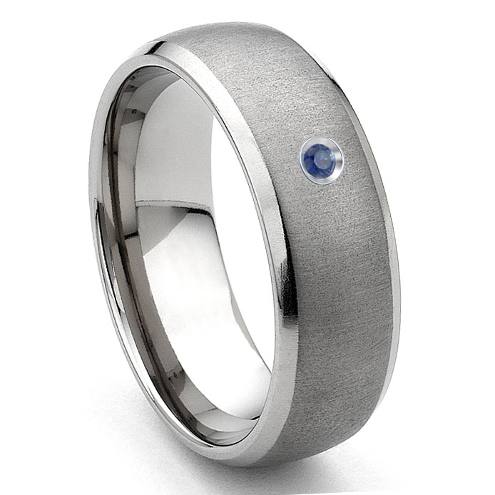 Tungsten Carbide Sapphire Satin Finish Dome Men S Wedding