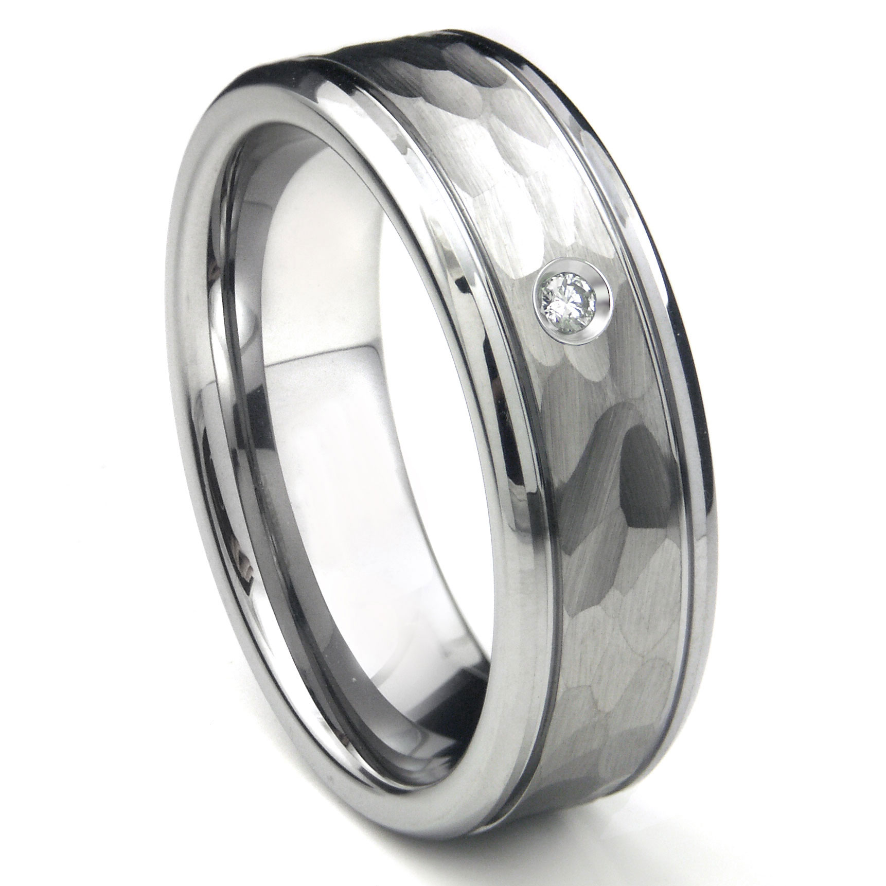 tungsten carbide diamond hammer finish newport men 39 s wedding band ring. Black Bedroom Furniture Sets. Home Design Ideas