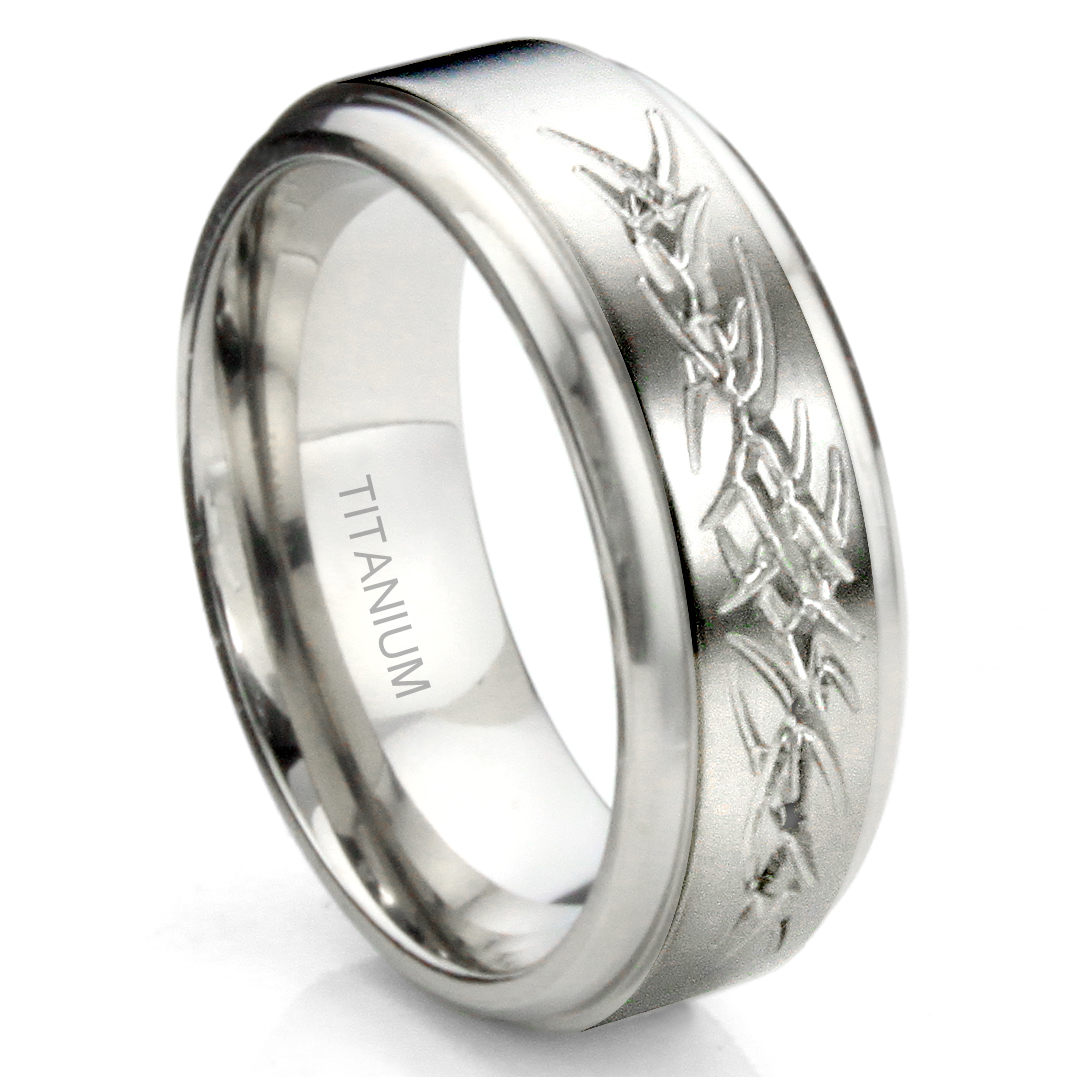 It is an image of Titanium Tribal Tattoo Armband Wedding Band Ring