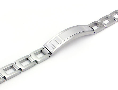 COLIBRI PRIME Stainless Steel Silver Inlay ID Bracelet