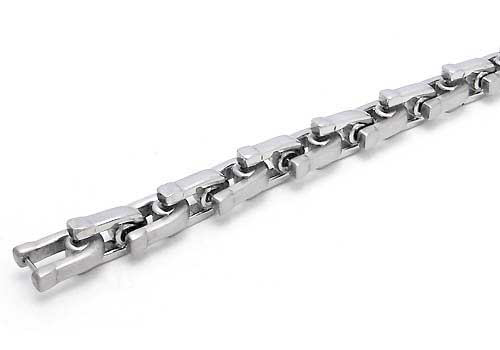 Stainless Steel Link Two-Tone Wheat Bracelet