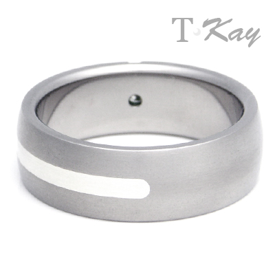Titanium Silver Inlay Diamond  Dome Ring