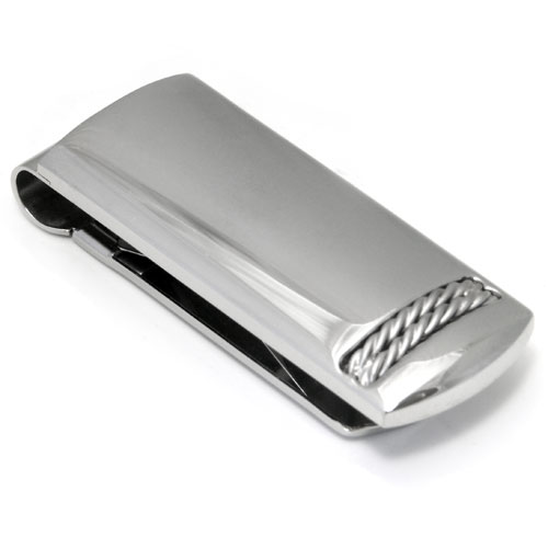 Colibri STATIC Stainless Steel Money Clip Cufflinks /w Silver Ropes Gift Set