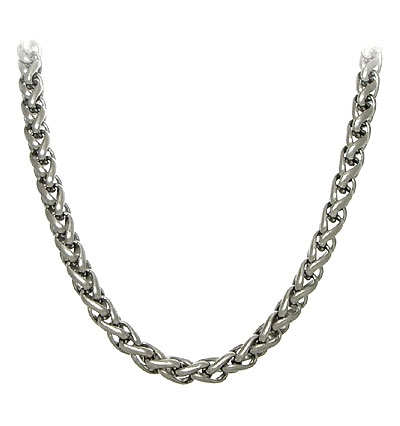 Titanium 7MM Wheat Link Necklace Chain