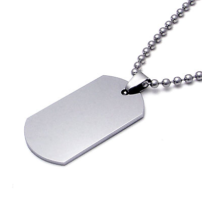 Tungsten Engravable Dog Tag Pendant w/ Bead Chain