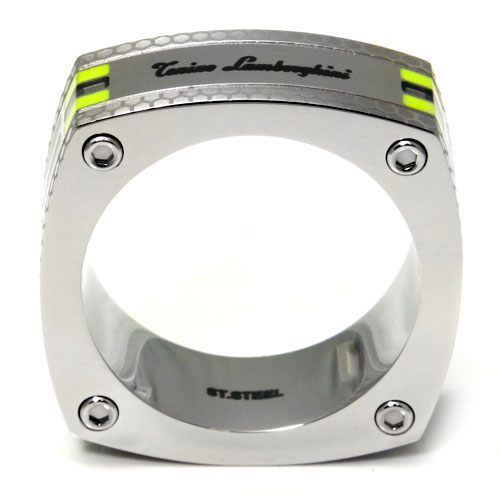 LAMBORGHINI Stainless Steel Ring w/ Green Crystals
