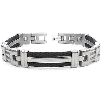 Men's Titanium Long Black Cable Link Bracelet