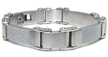 Stainless Steel Silver Carbon Fiber Men's Bracelet
