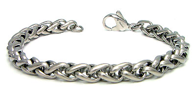 Titanium 7MM Wheat Link Bracelet