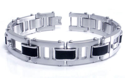 COLIBRI ELEMENT Stainless Steel Leather Diamond Bracelet