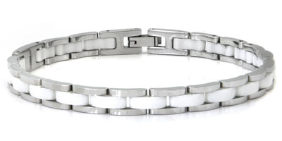 Stainless Steel White Diamond Ceramic Bracelet