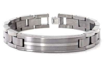 Titanium Silver Inlay Men's ID Bracelet