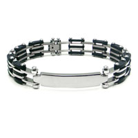 Titanium ID Bracelet w/ Black Stripes